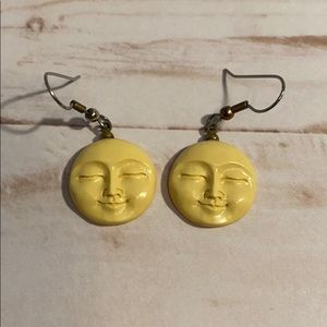 Jewelry - Carved Moon Face Earrings!